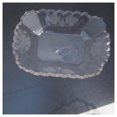 Antique  Candy/Nut Dish with Etched Grapes, Leaves and Flowers