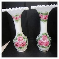 Vintage Pair of Rainbow Art Glass Hand Painted Milk Glass Vases