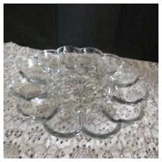 Clear Glass Elegant Egg Plate/Platter
