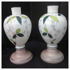 Vintage Pair of Bristol Hand Painted Mantle Vases