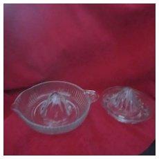 Vintage Pair of Clear Glass Citrus Juicers