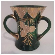 Vintage Forest Green Bohemian Three Handled Vase with Gold Trim