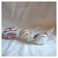 Set of 3 Art Glass Fish