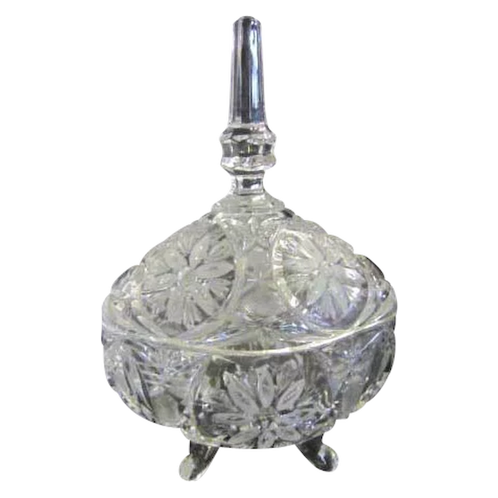 Clear Crystal Footed Candy Dish With, Clear Glass Pedestal Candy Dish With Lid