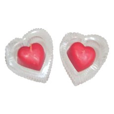 Pair of Lead Crystal Heart Shaped Candle Holders with Heart Shaped Candles