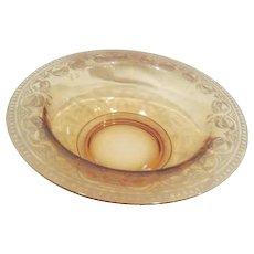Vintage Elegant Amber Gold Serving Bowl with Etched Rim