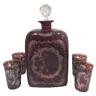 Egermann Ruby Red to Clear Bohemian Decanter with 4 Small Glasses