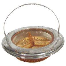 Farberware Divided Amber/Peach Glass Bowl with Metal Rim and Handle