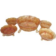 Fenton Golden Marigold Panther Carnival Glass Master Berry Bowl and 4 Individual Bowls