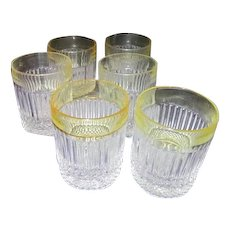 Set of 6 Glasses with Pale Yellow Border