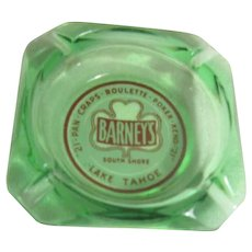 Barney's South Shore Lake Tahoe Green Glass Ashtray