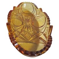 Amber Depression Glass Relish Dish with Press Design
