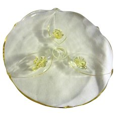 """Indiana Glass Elegant Glass Footed Baroque 10"""" Yellow Cake Plate"""