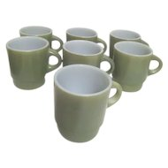 Set of 7 Anchor Hocking Fire King Ware Avocado Green Coffee Mugs or Cups
