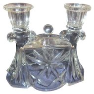 Anchor Hocking Early American Pre-cut Pattern Double Candlestick Holder