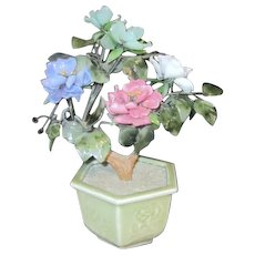 "Glass Flowers & Leaves ""Jade"" Tree in Celedon Octagon Pot"