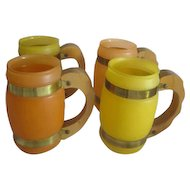 Set of 4 Satin Glass Siesta Ware Mugs with Wooden Handles