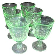 Set of 6 Green Glass Footed Glasses/Dessert Servers