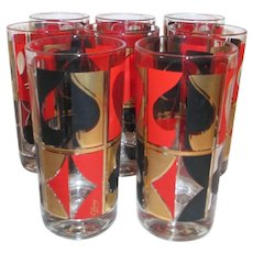 Set of 8 Colony Card Suits Drinking glasses