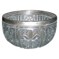 Heavy Pressed Glass Bowl with Silver Plated Rim from England