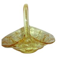 Indiana Glass Tiara Yellow Mist Constellation Handled Basket