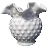Fenton Hobnail Milk Glass Vase with Ruffled Rim