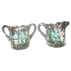 Early Heisey Cream and Sugar with Hand Painted Flowers