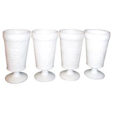 Set of 4 Footed Milk Glass Grape Panel Glasses