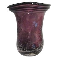 Violet Art Glass Vase with Rising Bubbles