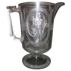 Large Early American Pattern Venus and Cupid Design Glass Water Pitcher