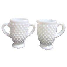 Fenton Hob Nail Milk Glass Cream and Sugar