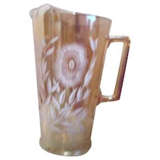 Jeanette Cosmos Pattern Marigold color Pitcher with Ice Lip