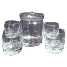 Clear Glass Ice Bucket Made in Germany with Four Crown Royal Glasses