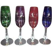 Set of 4 Colored Cut to Clear Crystal Champagne Flutes
