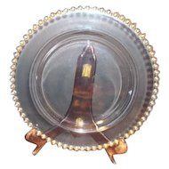 Imperial Glass Candlewick Dinner Plate with Gold Trim