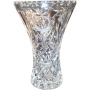 Cut Crystal Vase with Roses and Diamond