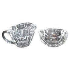 Crystal Cream and Sugar Set with Star Burst on Bottom