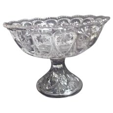 Moon and Stars Pattern Clear Glass Compote