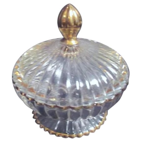 Clear Glass Footed Candy Dish With Gold, Clear Glass Pedestal Candy Dish With Lid