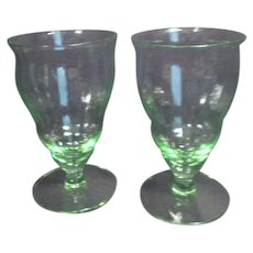 Set of Two Footed Florescent/ Uranium  Glasses