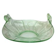 Fenton Green Glass Bowl with Fish Handles