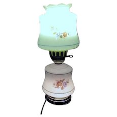 Two Part Glass Electric Lamp with Floral Design