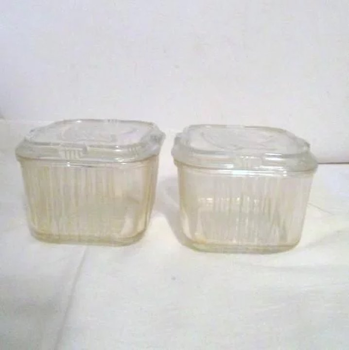 Pair of Federal Glass Refrigerator Storage Containers Something