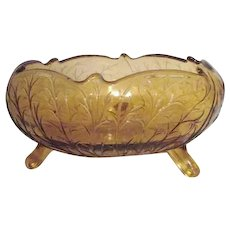 Amber Glass Footed Bowl with Branches Pattern