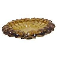 Large Amber Glass Ashtray or Plant Holder