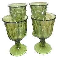 Imperial, Old Williamsburg, 4 Light Green Footed Glasses