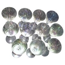 Set of 11 Crystal Iridescent Wine Glasses