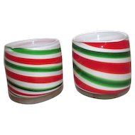 Pair of Red & Green on White Christmas Art Glass Candle Holder or Vase