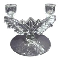 Double Candle Clear Elegant Glass Candle Holder