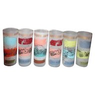 """Set of 6 """"Antique Automobile"""" Frosted Iced Tea or Highball Tumblers by Libbey"""